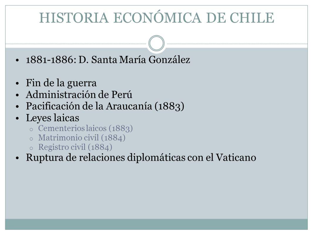 HISTORIA ECONÓMICA DE CHILE 1881-1886: D. Santa María González Fin de la guerra Administración de Perú Pacificación de la Araucanía (1883) Leyes laica