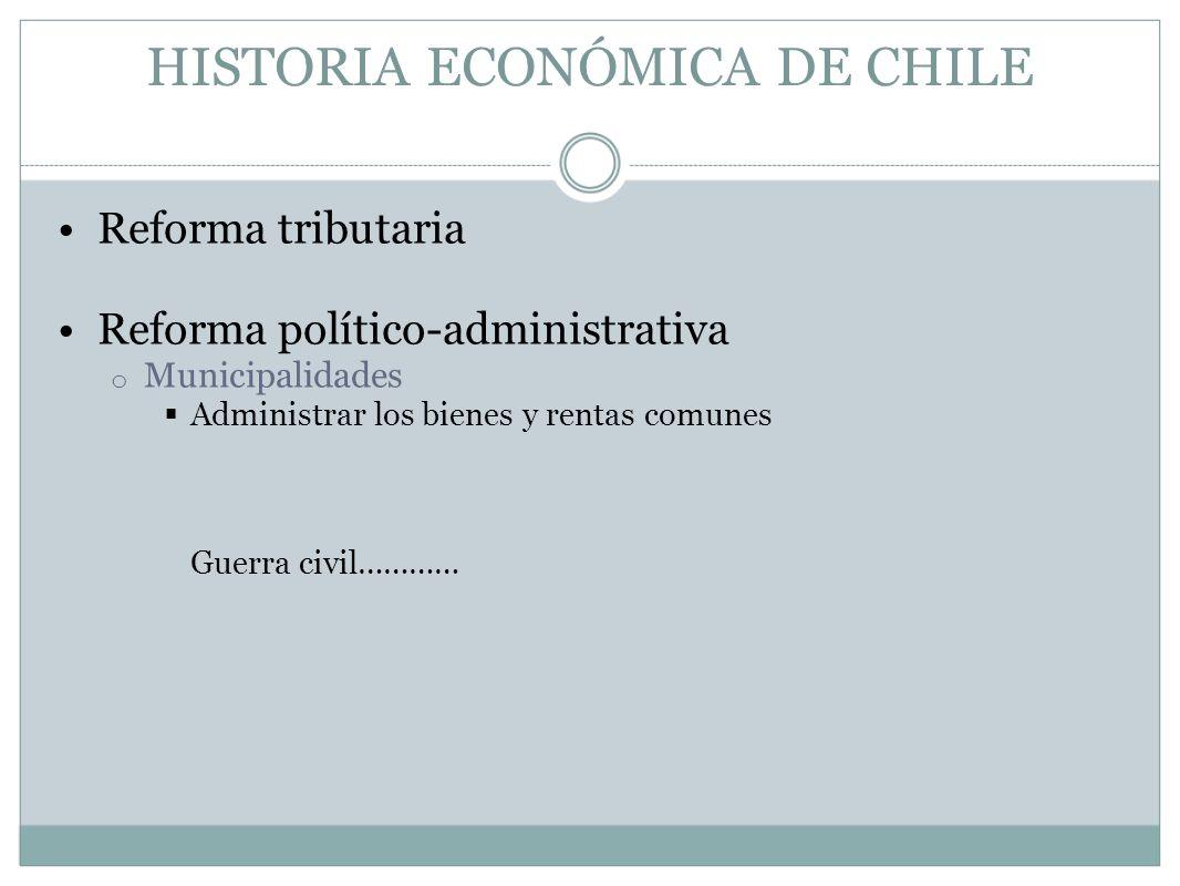 HISTORIA ECONÓMICA DE CHILE Reforma tributaria Reforma político-administrativa o Municipalidades Administrar los bienes y rentas comunes Guerra civil…