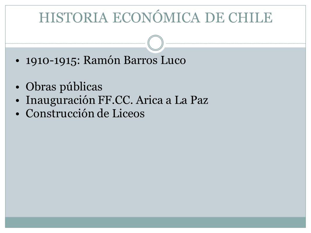 HISTORIA ECONÓMICA DE CHILE 1910-1915: Ramón Barros Luco Obras públicas Inauguración FF.CC. Arica a La Paz Construcción de Liceos