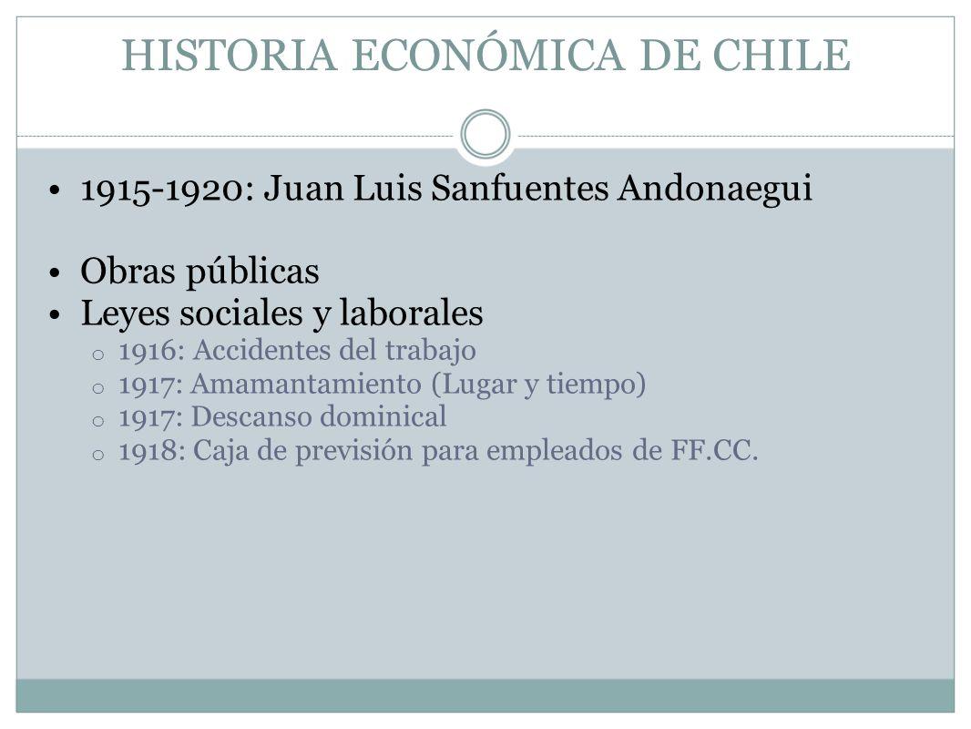 HISTORIA ECONÓMICA DE CHILE 1915-1920: Juan Luis Sanfuentes Andonaegui Obras públicas Leyes sociales y laborales o 1916: Accidentes del trabajo o 1917