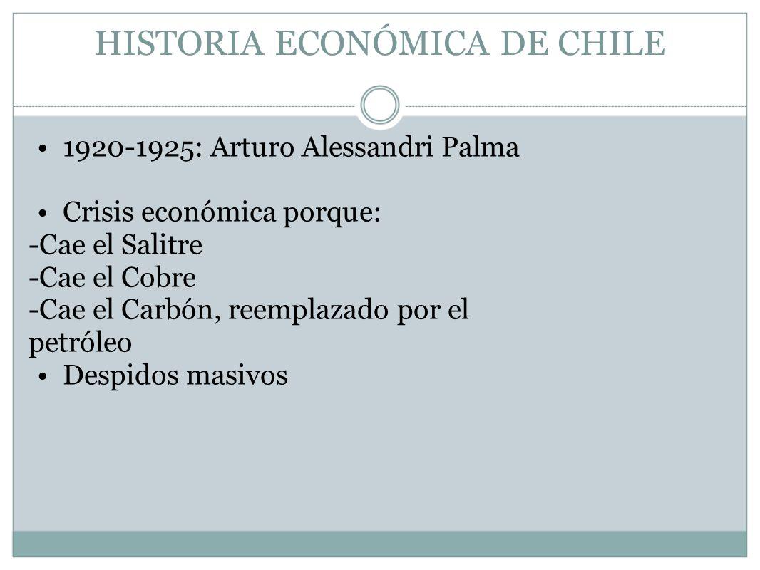HISTORIA ECONÓMICA DE CHILE 1920-1925: Arturo Alessandri Palma Crisis económica porque: -Cae el Salitre -Cae el Cobre -Cae el Carbón, reemplazado por