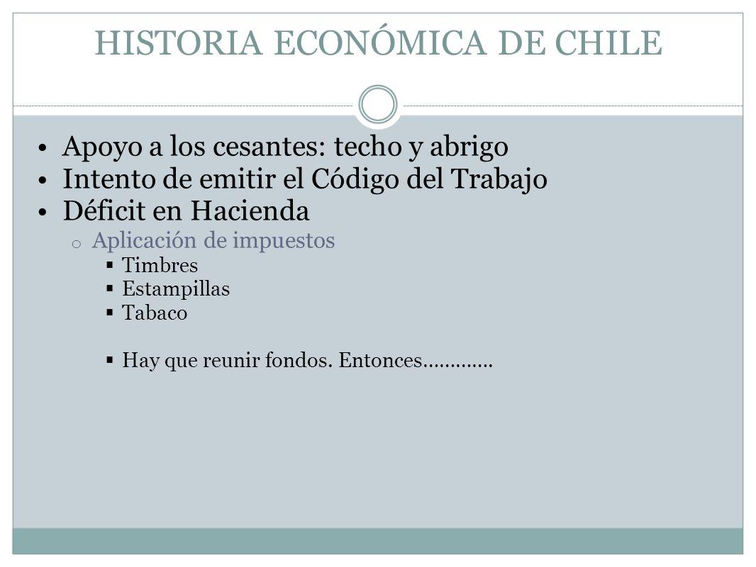 HISTORIA ECONÓMICA DE CHILE Apoyo a los cesantes: techo y abrigo Intento de emitir el Código del Trabajo Déficit en Hacienda o Aplicación de impuestos