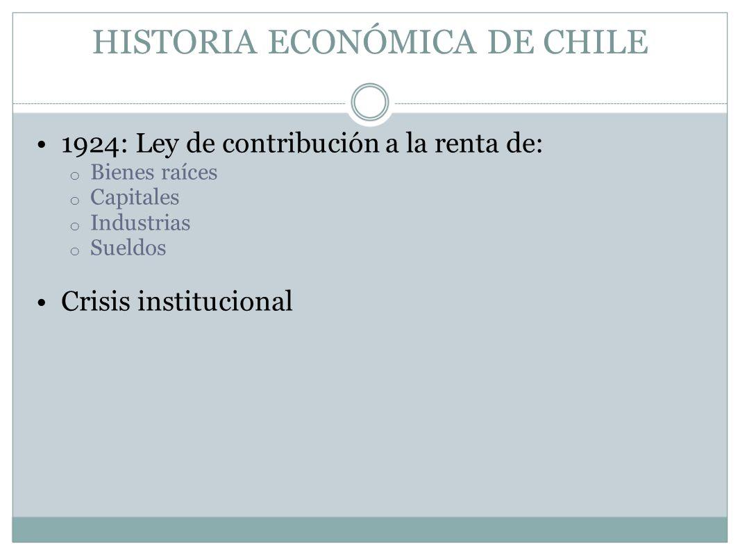HISTORIA ECONÓMICA DE CHILE 1924: Ley de contribución a la renta de: o Bienes raíces o Capitales o Industrias o Sueldos Crisis institucional