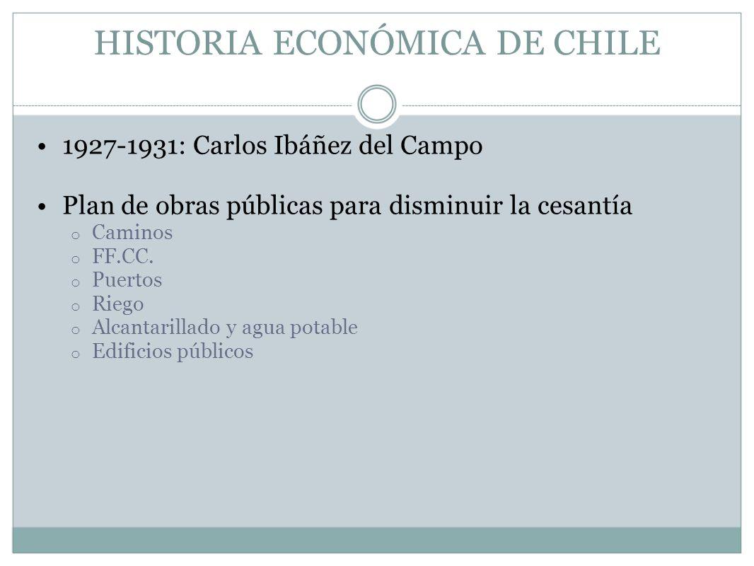 HISTORIA ECONÓMICA DE CHILE 1927-1931: Carlos Ibáñez del Campo Plan de obras públicas para disminuir la cesantía o Caminos o FF.CC. o Puertos o Riego