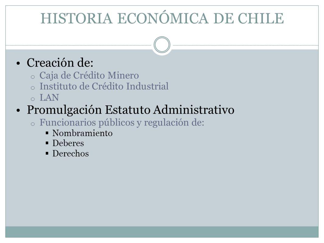 HISTORIA ECONÓMICA DE CHILE Creación de: o Caja de Crédito Minero o Instituto de Crédito Industrial o LAN Promulgación Estatuto Administrativo o Funci
