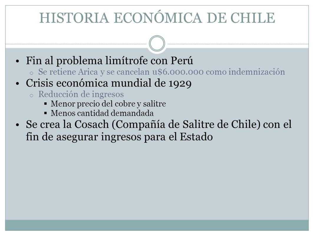 HISTORIA ECONÓMICA DE CHILE Fin al problema limítrofe con Perú o Se retiene Arica y se cancelan u$6.000.000 como indemnización Crisis económica mundia