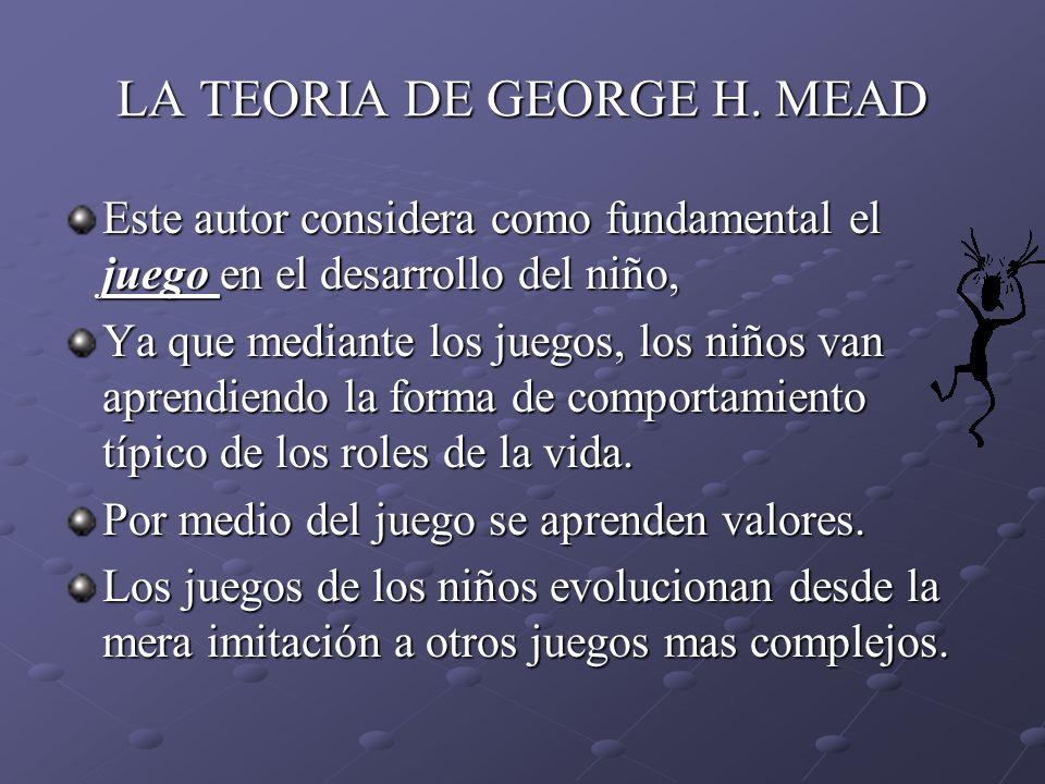 LA TEORIA DE GEORGE H. MEAD Este autor considera como fundamental el juego en el desarrollo del niño, Ya que mediante los juegos, los niños van aprend