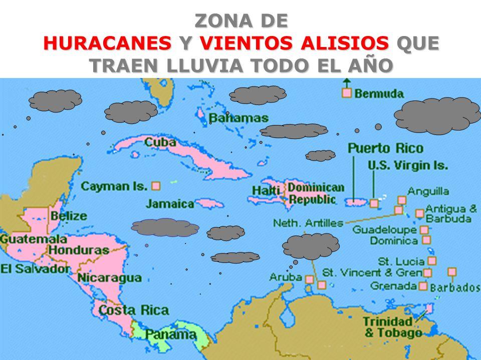 ZONA DE HURACANES Y VIENTOS ALISIOS QUE TRAEN LLUVIA TODO EL AÑO