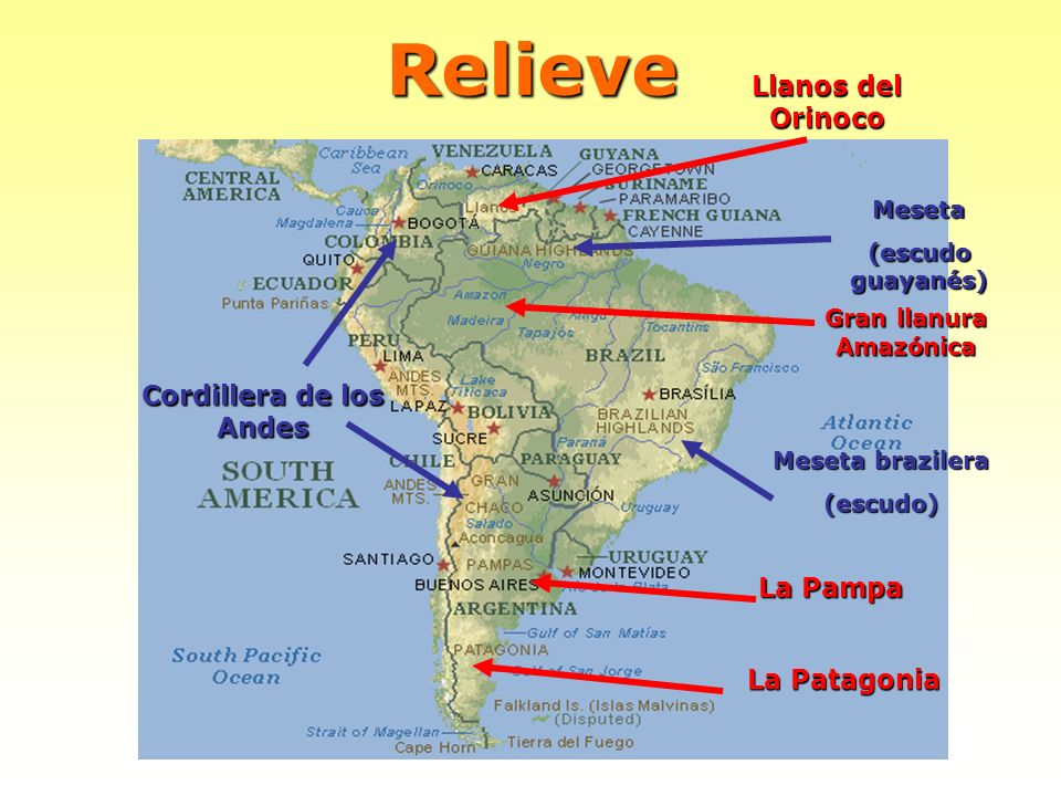 Relieve Llanos del Orinoco Gran llanura Amazónica La Pampa La Patagonia Meseta (escudo guayanés) Meseta brazilera (escudo) Cordillera de los Andes