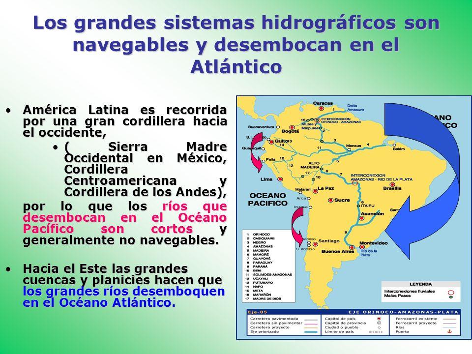 Los grandes sistemas hidrográficos son navegables y desembocan en el Atlántico América Latina es recorrida por una gran cordillera hacia el occidente,