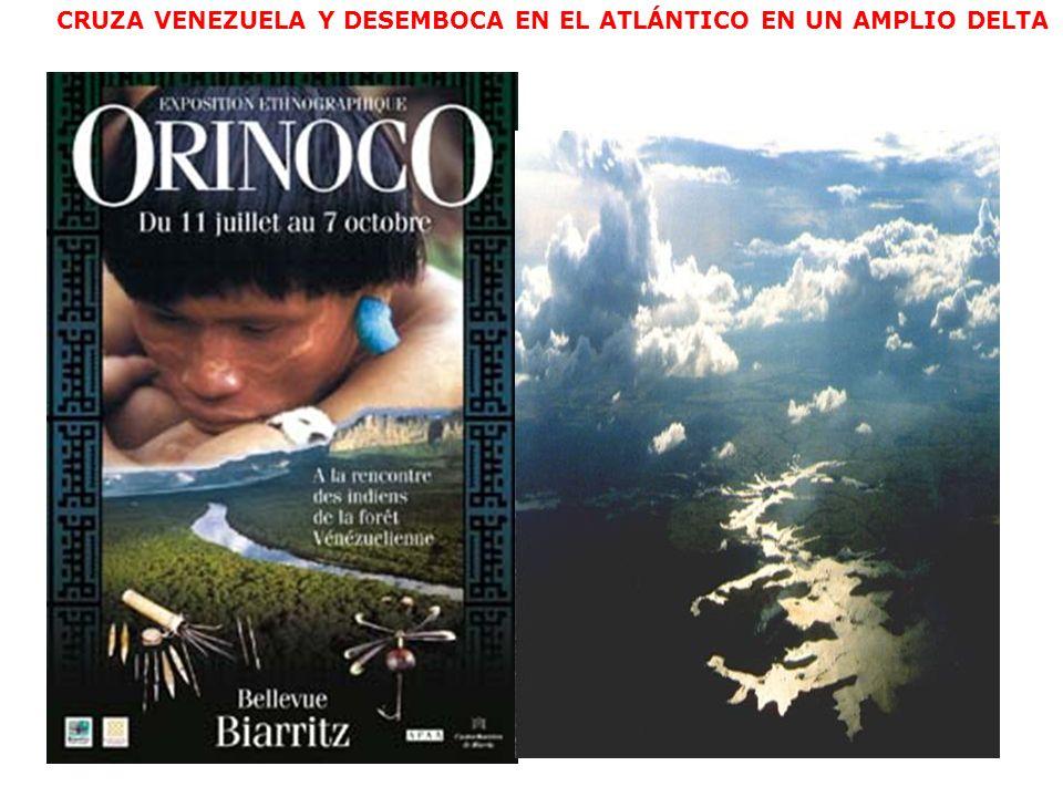 CRUZA VENEZUELA Y DESEMBOCA EN EL ATLÁNTICO EN UN AMPLIO DELTA