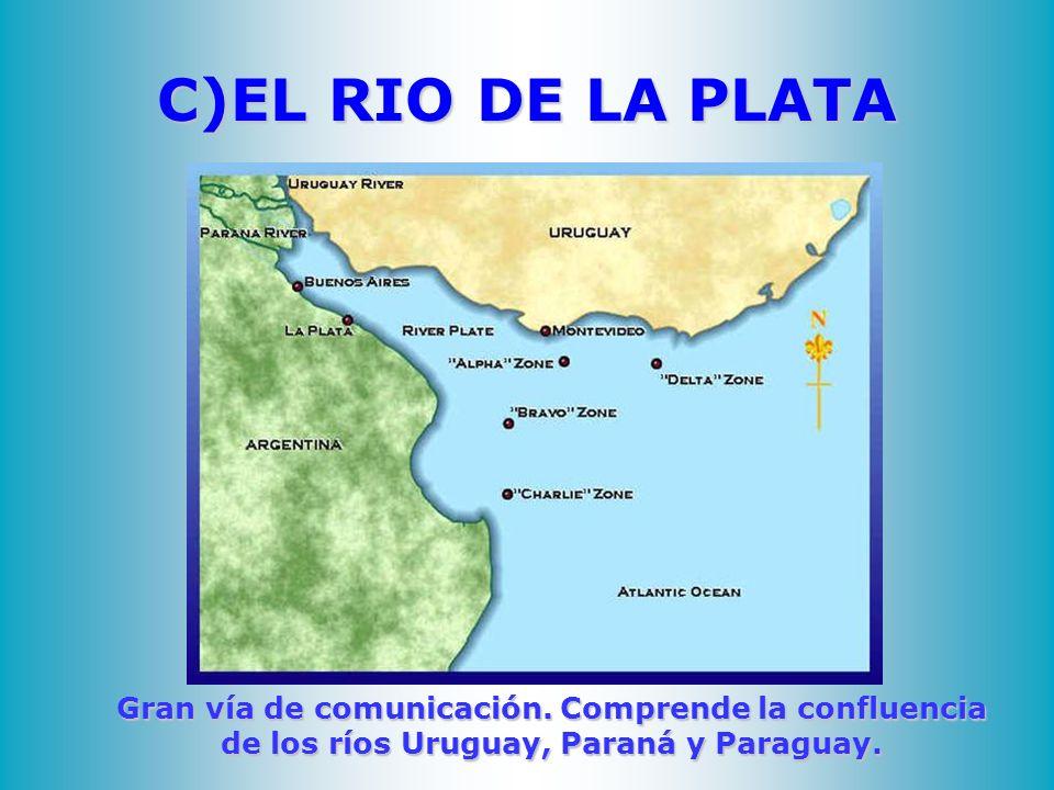 C)EL RIO DE LA PLATA Gran vía de comunicación. Comprende la confluencia de los ríos Uruguay, Paraná y Paraguay.