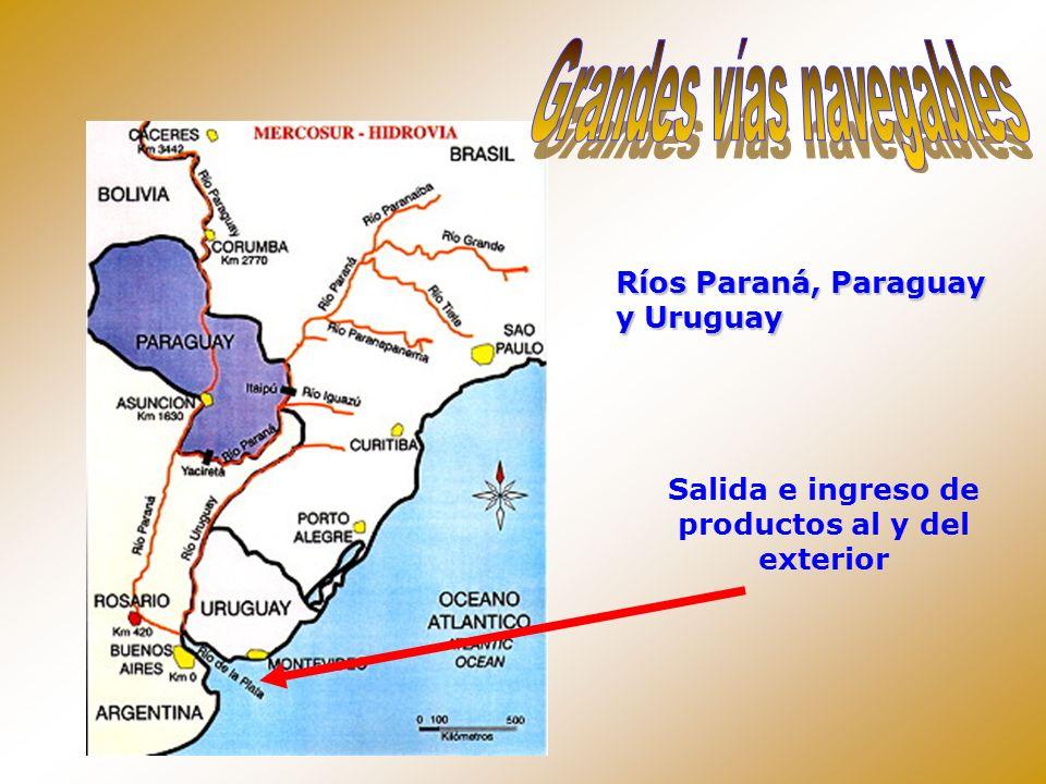 Ríos Paraná, Paraguay y Uruguay Salida e ingreso de productos al y del exterior