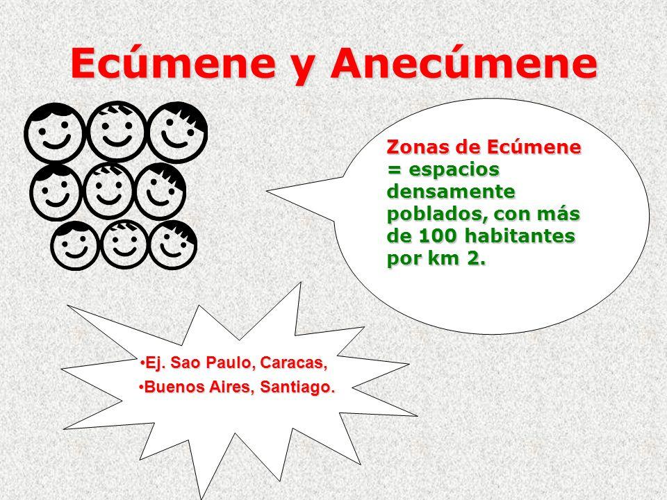 Ecúmene y Anecúmene Zonas de Ecúmene = espacios densamente poblados, con más de 100 habitantes por km 2. Ej. Sao Paulo, Caracas,Ej. Sao Paulo, Caracas