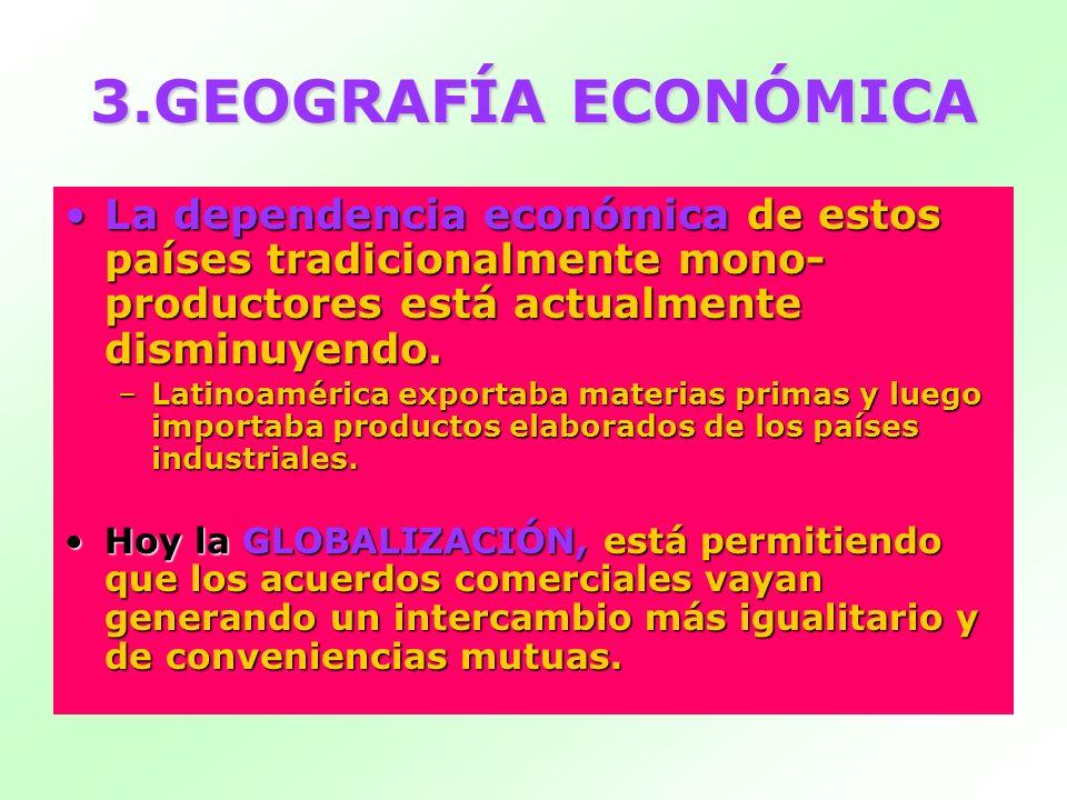 3.GEOGRAFÍA ECONÓMICA La dependencia económicade estos países tradicionalmente mono- productores está actualmente disminuyendo.La dependencia económic