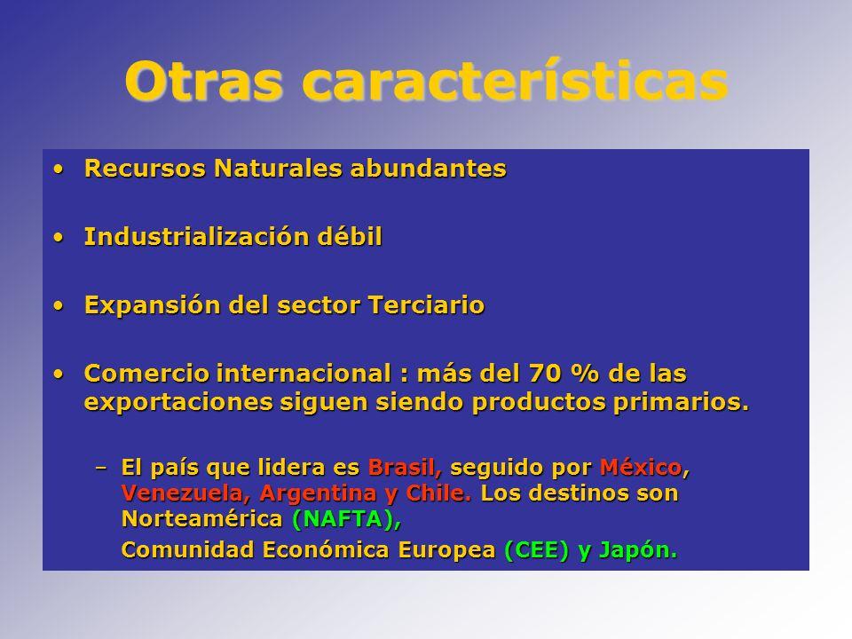 Otras características Recursos Naturales abundantesRecursos Naturales abundantes Industrialización débilIndustrialización débil Expansión del sector T
