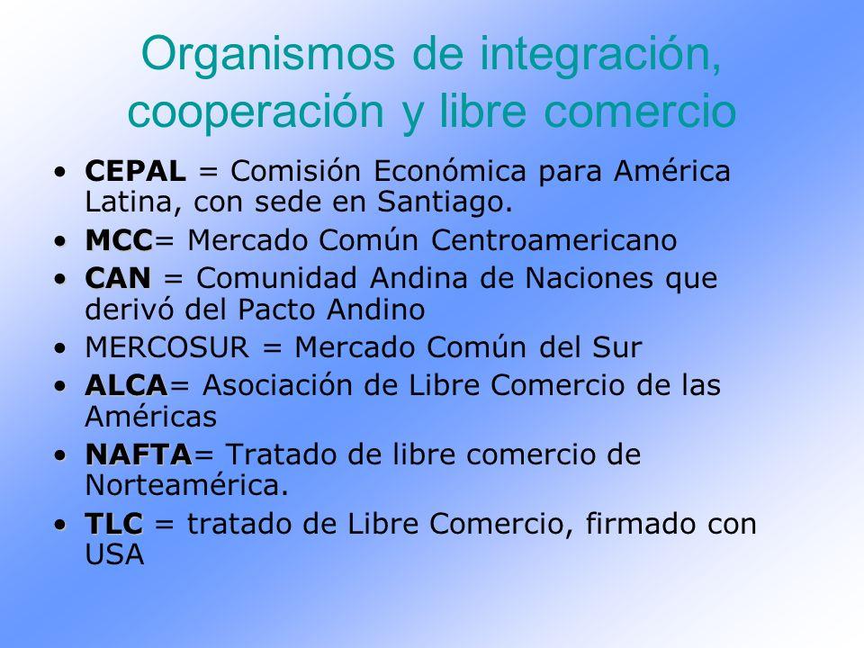 Organismos de integración, cooperación y libre comercio CEPAL = Comisión Económica para América Latina, con sede en Santiago. MCCMCC= Mercado Común Ce