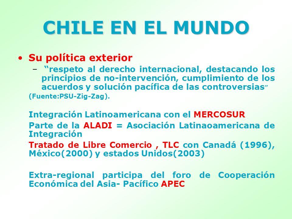 CHILE EN EL MUNDO Su política exterior – respeto al derecho internacional, destacando los principios de no-intervención, cumplimiento de los acuerdos