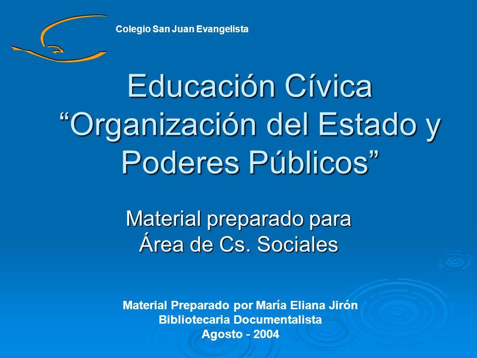Educación Cívica Organización del Estado y Poderes Públicos Material preparado para Área de Cs. Sociales Material Preparado por María Eliana Jirón Bib