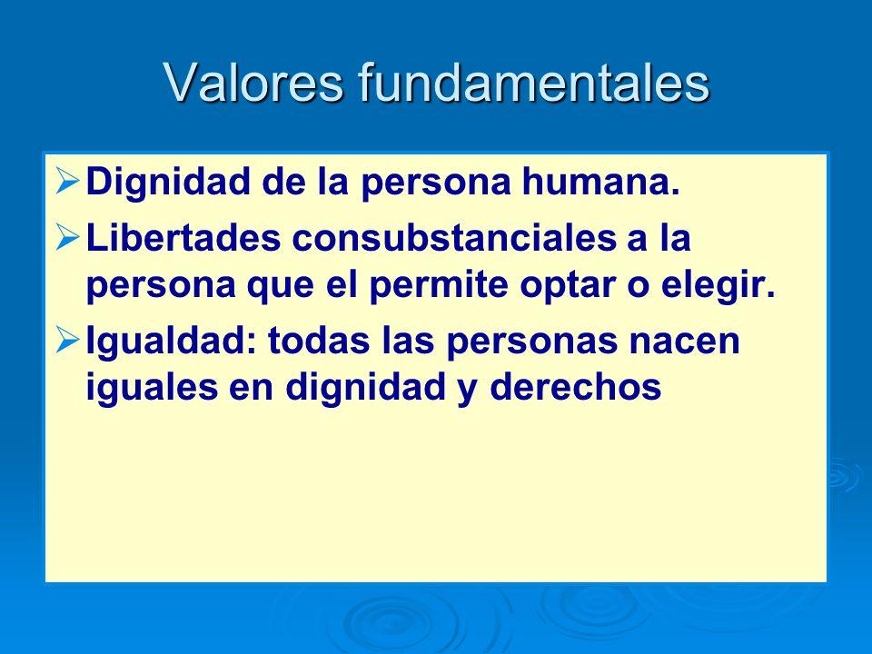 Valores fundamentales Dignidad de la persona humana. Libertades consubstanciales a la persona que el permite optar o elegir. Igualdad: todas las perso