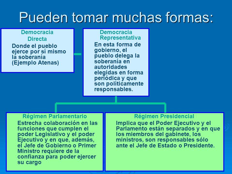 Pueden tomar muchas formas: Democracia Directa Donde el pueblo ejerce por sí mismo la soberanía (Ejemplo Atenas) Democracia Representativa En esta for