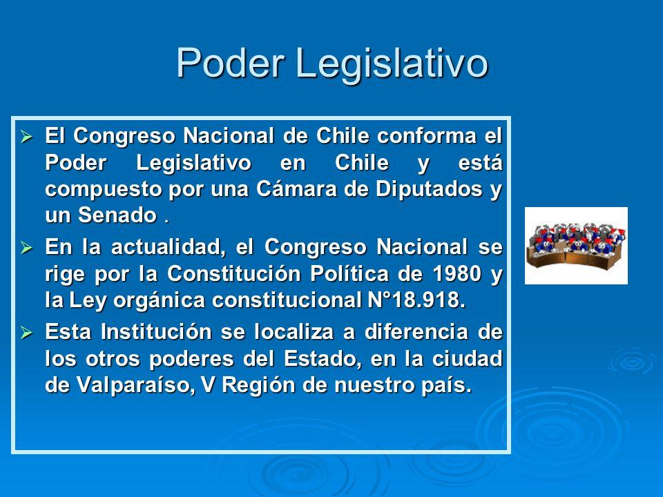 Poder Legislativo El Congreso Nacional de Chile conforma el Poder Legislativo en Chile y está compuesto por una Cámara de Diputados y un Senado. El Co