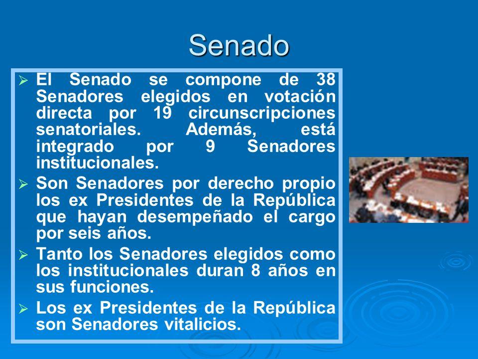 Senado El Senado se compone de 38 Senadores elegidos en votación directa por 19 circunscripciones senatoriales. Además, está integrado por 9 Senadores