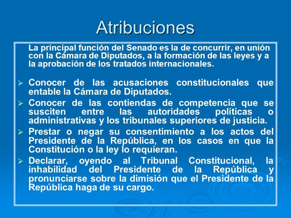 Atribuciones La principal función del Senado es la de concurrir, en unión con la Cámara de Diputados, a la formación de las leyes y a la aprobación de