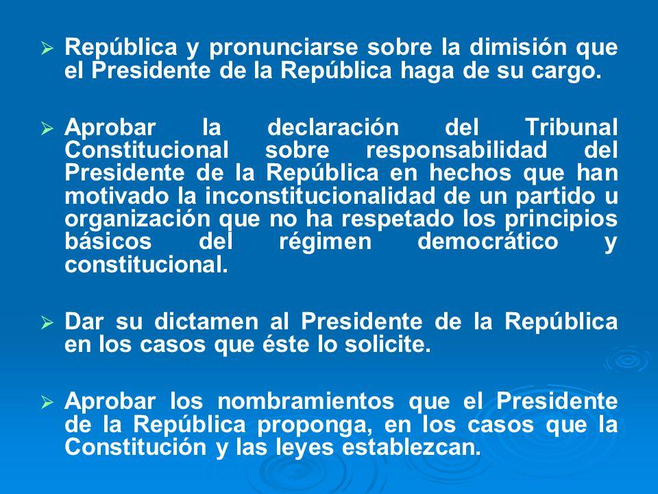 República y pronunciarse sobre la dimisión que el Presidente de la República haga de su cargo. Aprobar la declaración del Tribunal Constitucional sobr