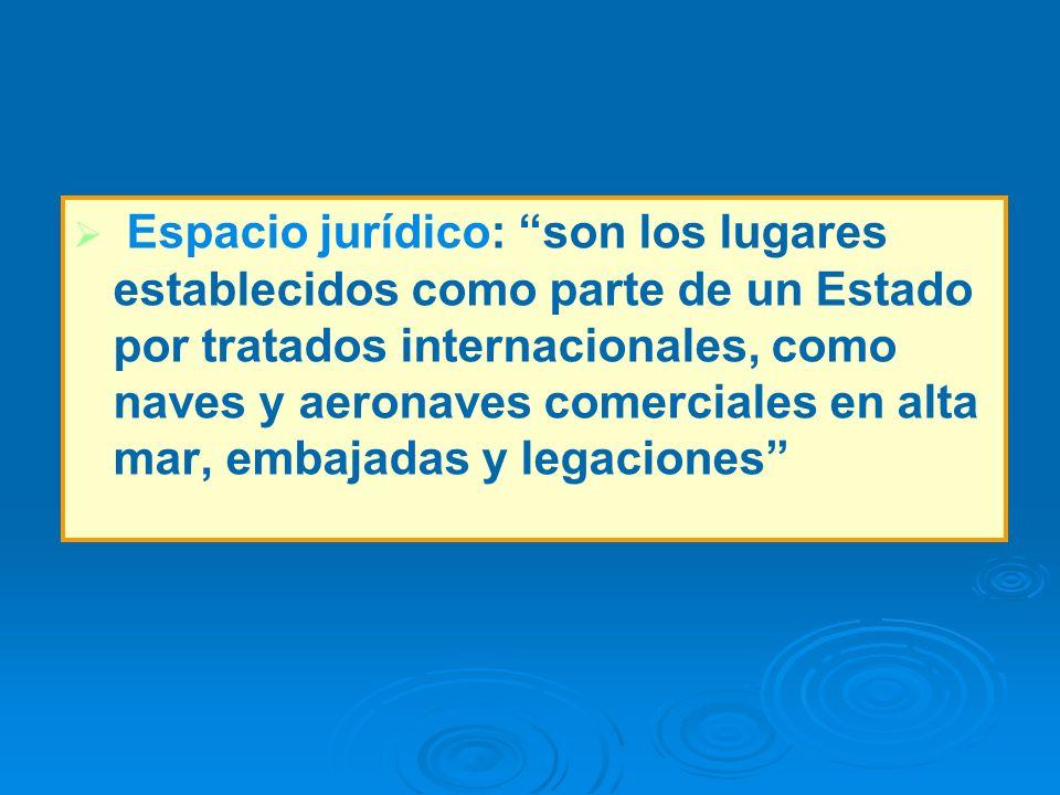 Espacio jurídico: son los lugares establecidos como parte de un Estado por tratados internacionales, como naves y aeronaves comerciales en alta mar, e