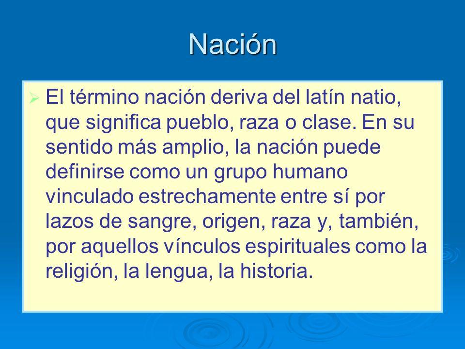 Nación El término nación deriva del latín natio, que significa pueblo, raza o clase. En su sentido más amplio, la nación puede definirse como un grupo