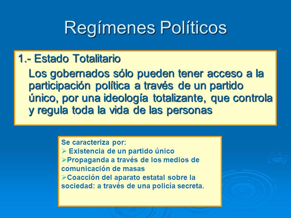 Regímenes Políticos 1.- Estado Totalitario Los gobernados sólo pueden tener acceso a la participación política a través de un partido único, por una i