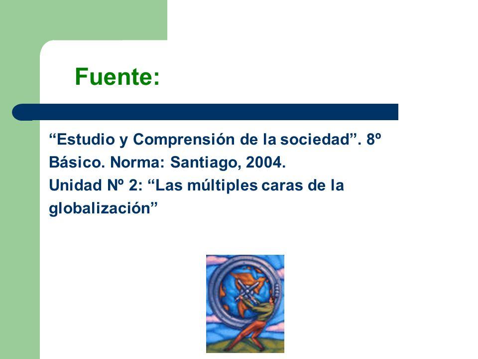 Estudio y Comprensión de la sociedad. 8º Básico. Norma: Santiago, 2004. Unidad Nº 2: Las múltiples caras de la globalización Fuente: