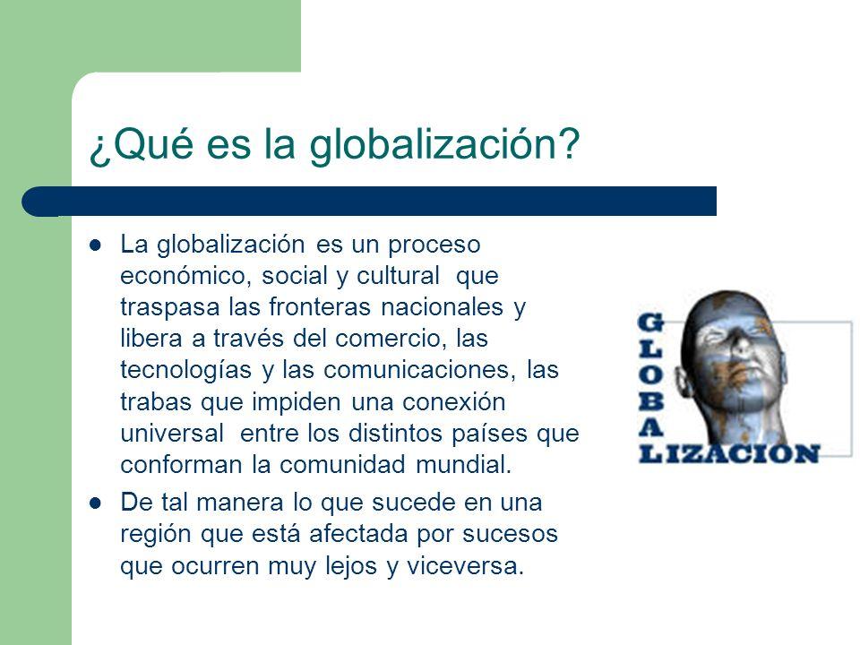 ¿Qué es la globalización? La globalización es un proceso económico, social y cultural que traspasa las fronteras nacionales y libera a través del come