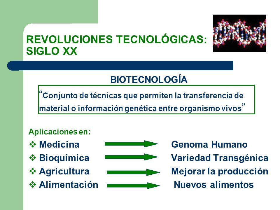REVOLUCIONES TECNOLÓGICAS: SIGLO XX BIOTECNOLOGÍA Conjunto de técnicas que permiten la transferencia de material o información genética entre organism