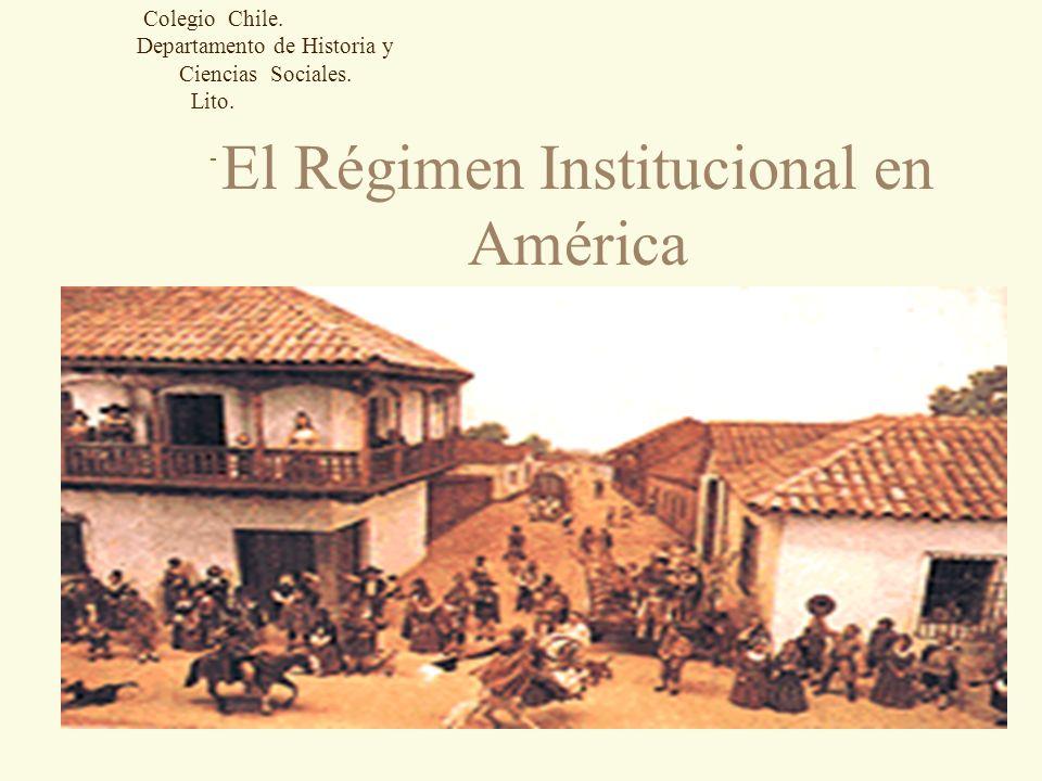 Régimen Institucional español 4 Sistema de control del territorio para conservar el pacto colonial.