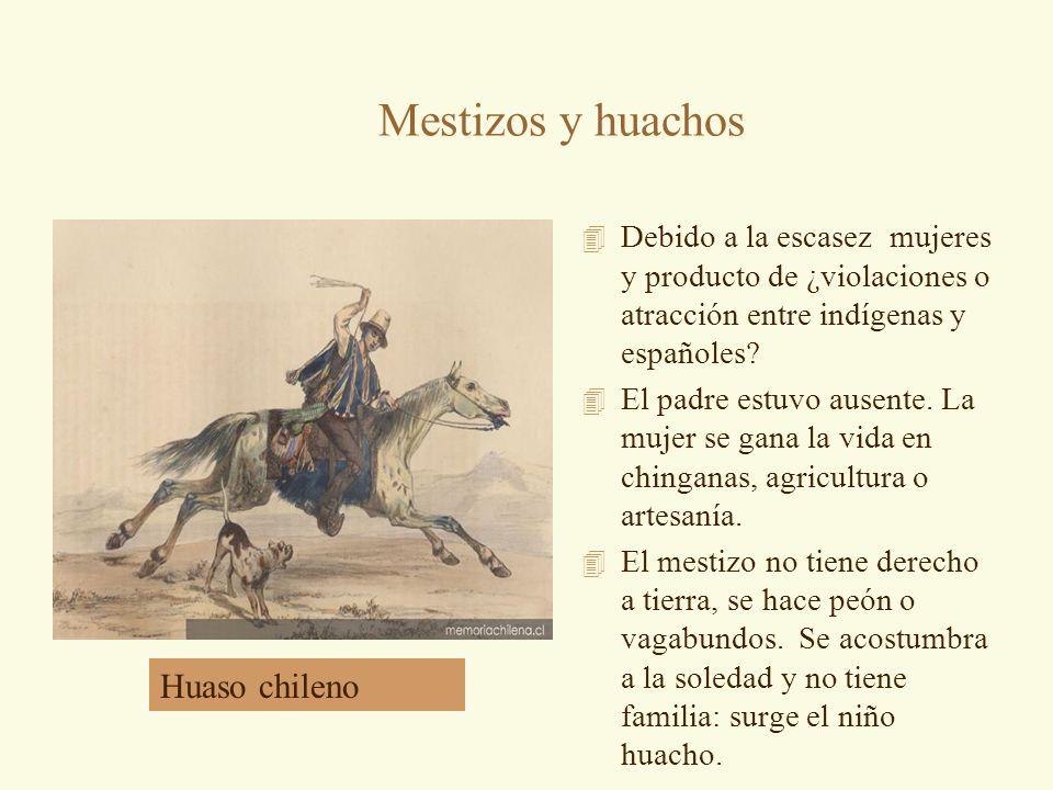 Mestizos y huachos 4 Debido a la escasez mujeres y producto de ¿violaciones o atracción entre indígenas y españoles? 4 El padre estuvo ausente. La muj