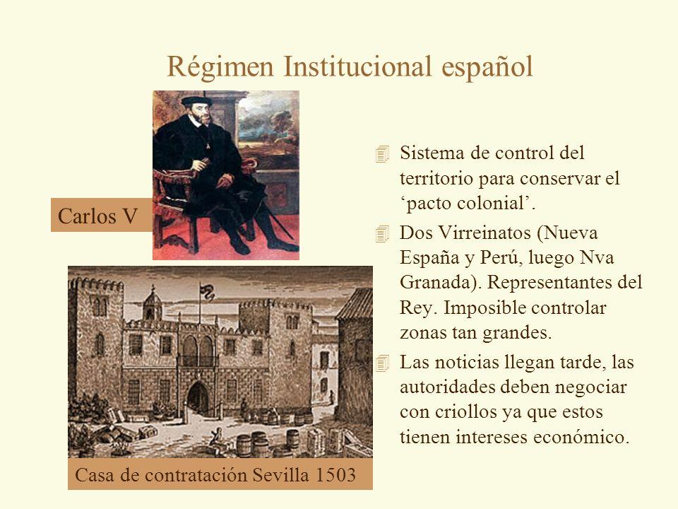 Régimen Institucional español 4 Sistema de control del territorio para conservar el pacto colonial. 4 Dos Virreinatos (Nueva España y Perú, luego Nva
