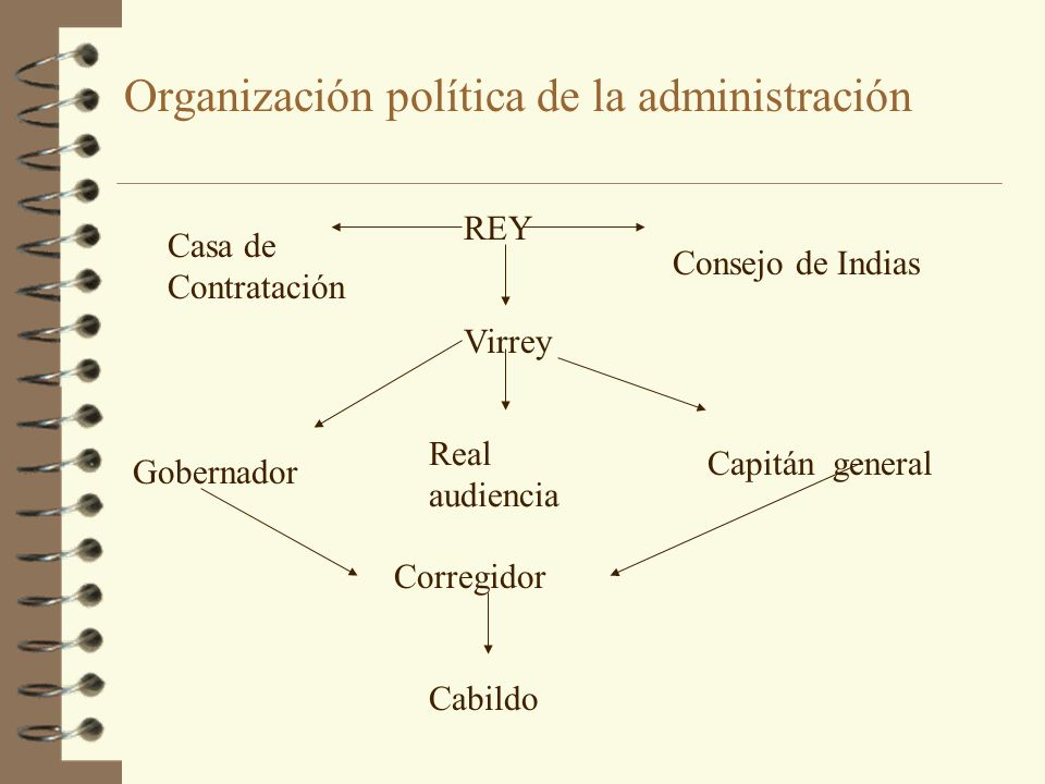 Organización política de la administración REY Virrey Casa de Contratación Consejo de Indias Real audiencia Capitán general Gobernador Corregidor Cabi