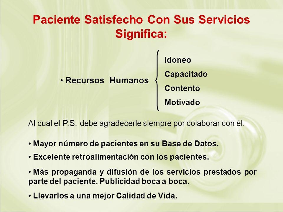 Paciente Satisfecho Con Sus Servicios Significa: Al cual el P.S. debe agradecerle siempre por colaborar con él. Mayor número de pacientes en su Base d