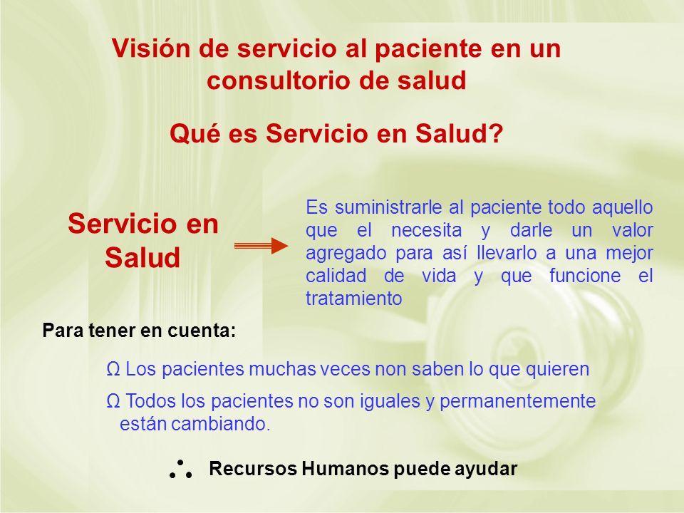 Visión de servicio al paciente en un consultorio de salud Qué es Servicio en Salud? Servicio en Salud Es suministrarle al paciente todo aquello que el