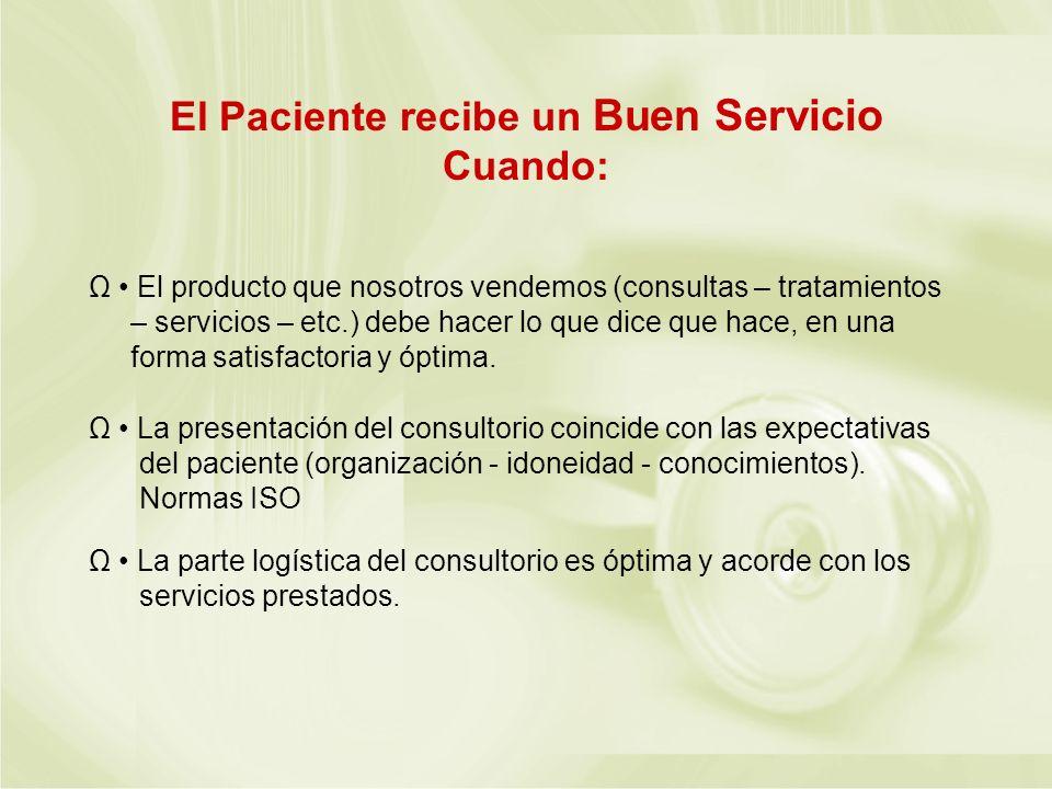 El Paciente recibe un Buen Servicio Cuando: Ω El producto que nosotros vendemos (consultas – tratamientos – servicios – etc.) debe hacer lo que dice q