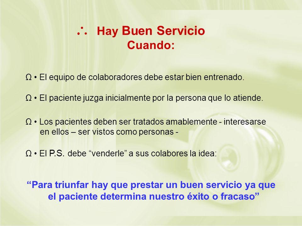 Hay Buen Servicio Cuando: Ω El equipo de colaboradores debe estar bien entrenado. Ω El paciente juzga inicialmente por la persona que lo atiende. Ω Lo