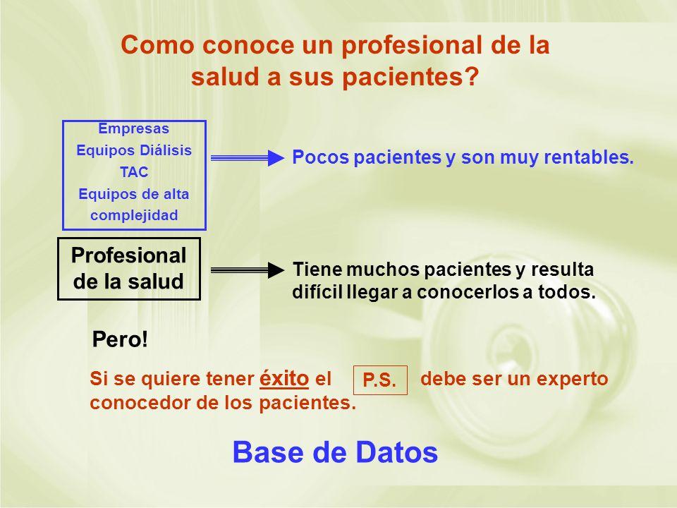 Como conoce un profesional de la salud a sus pacientes? Pocos pacientes y son muy rentables. Empresas Equipos Diálisis TAC Equipos de alta complejidad