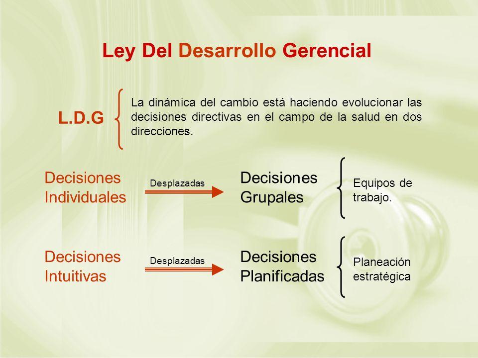 Ley Del Desarrollo Gerencial L.D.G La dinámica del cambio está haciendo evolucionar las decisiones directivas en el campo de la salud en dos direccion
