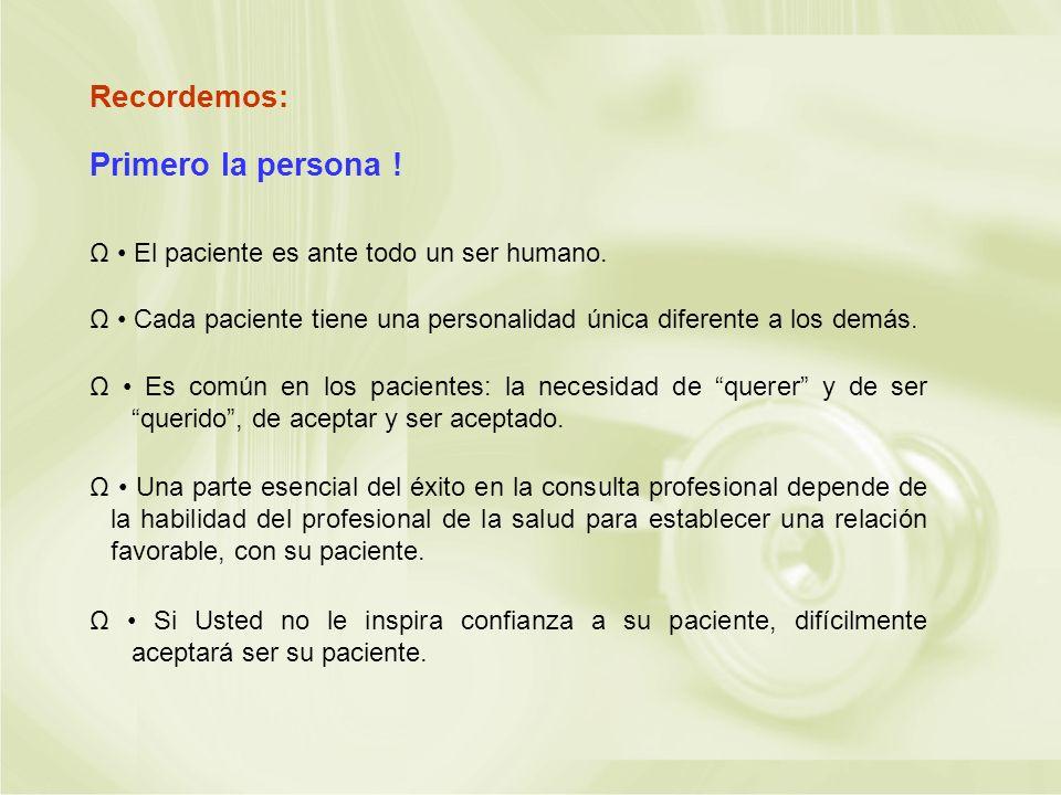 Recordemos: Ω El paciente es ante todo un ser humano. Ω Cada paciente tiene una personalidad única diferente a los demás. Ω Es común en los pacientes: