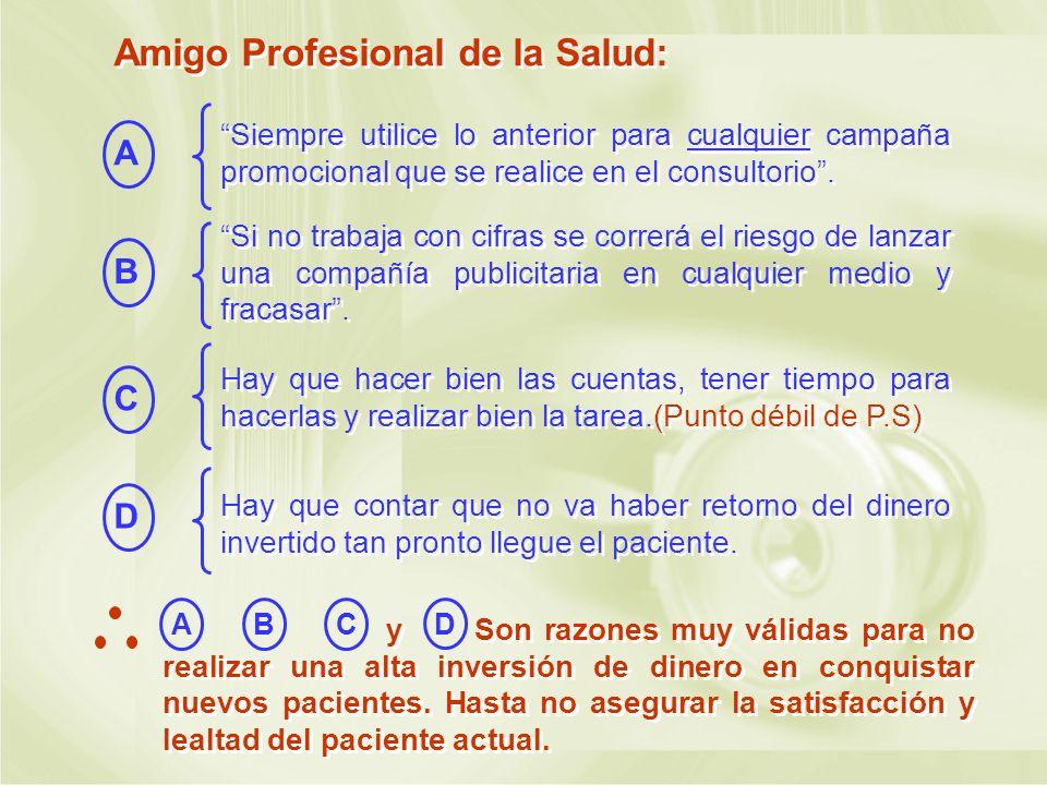 Amigo Profesional de la Salud: Siempre utilice lo anterior para cualquier campaña promocional que se realice en el consultorio. A B Si no trabaja con