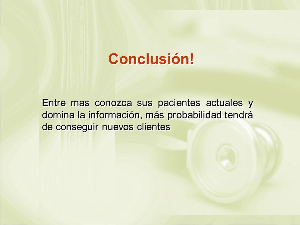 Conclusión! Entre mas conozca sus pacientes actuales y domina la información, más probabilidad tendrá de conseguir nuevos clientes