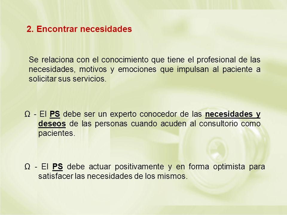 Se relaciona con el conocimiento que tiene el profesional de las necesidades, motivos y emociones que impulsan al paciente a solicitar sus servicios.