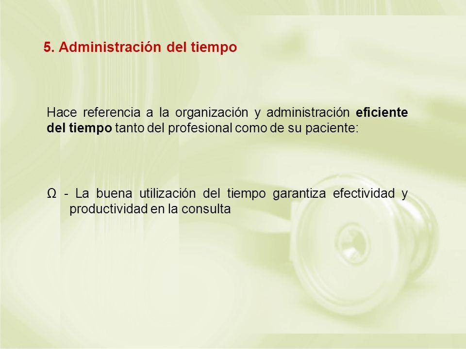 Hace referencia a la organización y administración eficiente del tiempo tanto del profesional como de su paciente: - La buena utilización del tiempo g